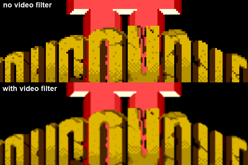 upper:No video filter/Down: with video filter